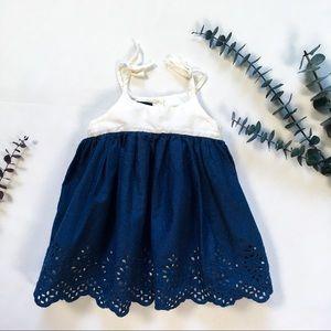 6-12m Baby Gap Navy & White Dress